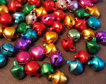 50 multicolored 9mm Bell metal bells