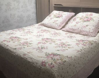 Bedspread boutis 230x250cm covers x 2 white Liberty stripes Shabby Chic pink flowers