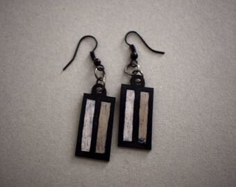 Shrink plastic earrings, black and white rectangles