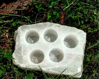 Large Sea Salt Tealight Candle Holder-Salt Crystal Cleansing Healing Metaphysical
