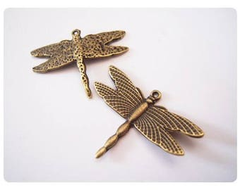2 large charms ' Dragonfly '-bronze color