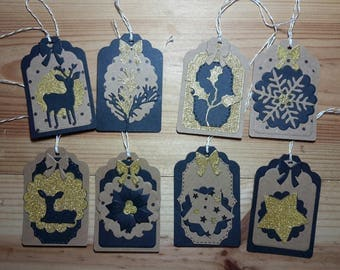 Set of 8 tags in kraft paper, black and gold