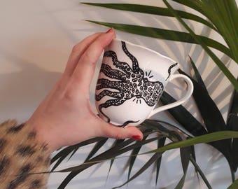 Octopus print mug by Teaandtattsmugs