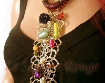 Original necklace beadwoven precious stones