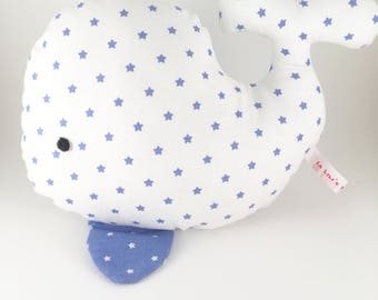 Plush whale Star Blue on white background