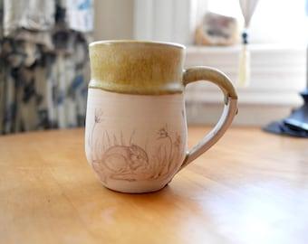 Hand-thrown Stoneware Ceramic Mug   Original Design   Kangaroo Rat