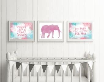 Nursery Room Print Set, Quote Set, Geometric Print Set, Animal Print Set, Nursery Room, Baby's Room, Blue Elephant print, Bunny Print,Fox