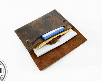 Rustic Brown, Personalized, Tobacco leather case, Tobacco pouch, Hipster cigarette case, Tobacco case, Cigarette case, Leather case