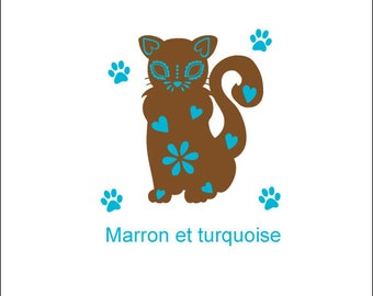 Car decal sticker cat in two colors of vinyl for decoration, deco wall for all cat lovers