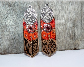 Red copper charms Black Silver-ethnic-Bohemian-Indian creations charms craft handmade