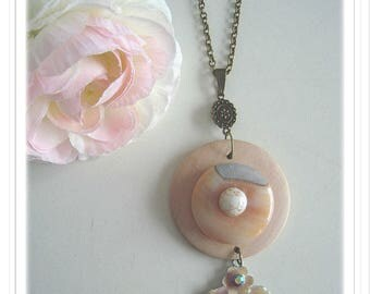 "Wood, Agate and Orchid donut enamelled metal pendant."" Sweet dreams"""