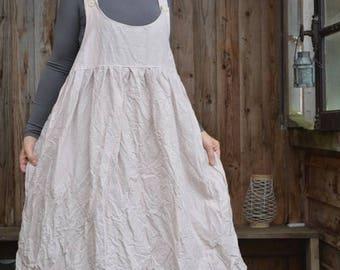 Eulalie powder pink linen dress