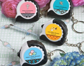 24 Personalized Baby Shower Key Chain / Measuring Tape Favors - Set of 24