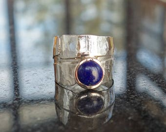 Silver ring, women rings, lapis lazuli ring men ring gemstone ring, blue, silver ring Sterling, hammered ring, ring