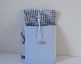 Sleeve ipad mini, eReader, sketchbook... Blue pastel lined Plaid white and gray