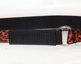 orange leopard toddler belt on black nylon web