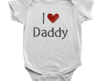 I Love Daddy One Piece Body Suit, I Love Daddy Onesie, Daddy Baby Onesie, Unisex Baby Clothes, Baby Shower Gift, Baby Gift for New Dad