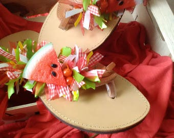 Watermelon Leather Sandals  #FREE SHIPPING#