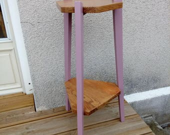 Wooden tripod stand, wears plants, redesigned with pastel pink