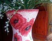 Red poppy vase floral home decor decoupage handmade romantic,  gift for her, gift for mother,gift for anniversary,gift idea for girlfriend