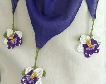 Boho Oya scarf,Purple Cotton foulard Scarf, neddle lace triangle Scarf, , Crochet Scarf, Turkish Foulard, Christmas Gift, Fringed Scarf,