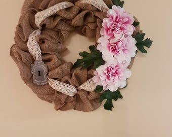Burlap Wreath with Lace Ribbon