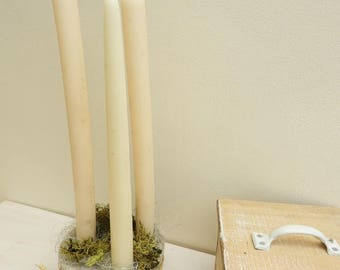 Natural concrete candle holder cottage chic style