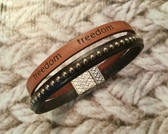 "Mixed light brown leather ""freedom"" and studded black leather bracelet"