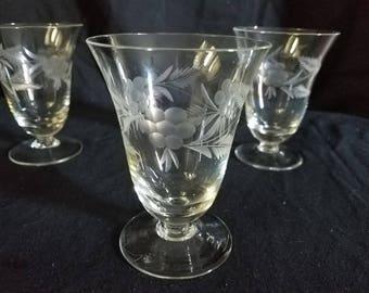 Set of 4 Vintage Etched Juice Glasses