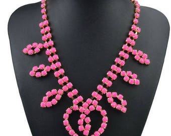 River of Fuchsia Pink Rhinestone necklace