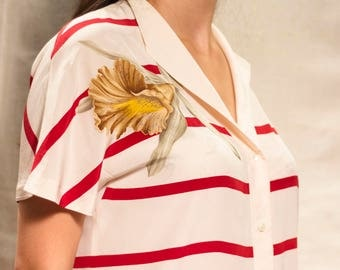 Silk Red and White Striped Shirt