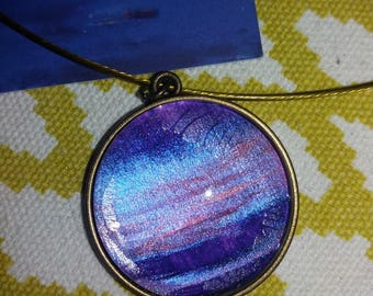 Cable necklace and one purple pendant