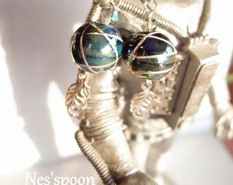 NES'spoon spun glass Peacock earrings