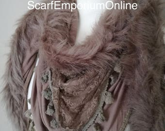 Handmade Flux Fur Triangle Lace scarf in Beige Autumn Scarf / Fashion Accessories / Women Scarves / Gifts For Her