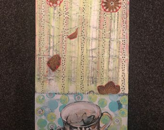Mixed Media Artwork 'Penny's Teacup'