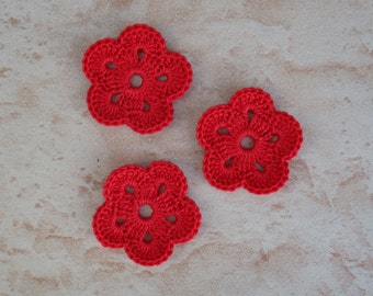 set of 3 red flowers 5 petals crochet