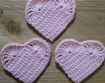 set of 3 hearts pink crocheted height 4.5 cm