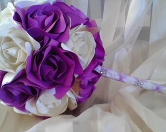 Bride bouquet, paper wedding bouquet, purple wedding, red wedding,free shipping.