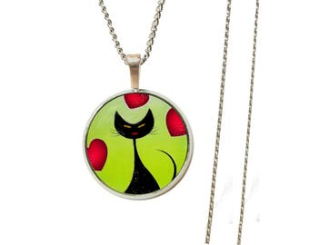 Cat heart pendant necklace