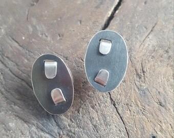Silver crimped earrings