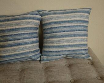 Set of 2 18x18 blue throw pillows
