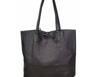 SAC à main shopping woman, black leather