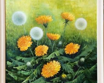 Dandelions - oil painting on canvas, romantic flowers