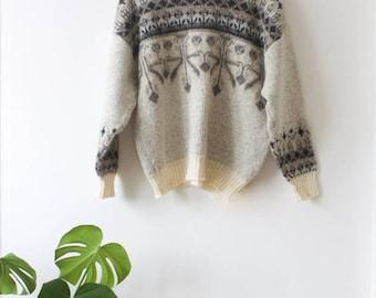 Vintage Women's Wool Jumper // Off-White // Icelandic Sweater // Nordic Cardigan // Pure Wool // Large Pullover // Winter Ski Clothing