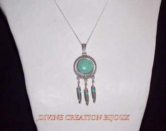 Mid-long necklace with connector Rotary and turquoise blue round