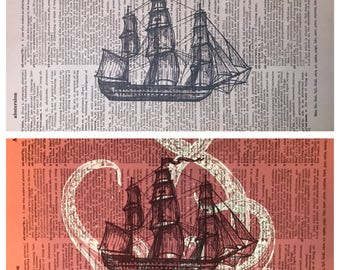 Vintage dictionary print featuring a blacklight (UV) reactive KRAKEN attacking an old-old-wooden ship! *FREE Shipping!