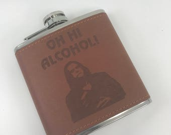 "Tommy Wiseau - The Room - ""Oh Hi Alcohol!"" - Wood Wrapped 6oz Stainless Steel Hip Flask!"