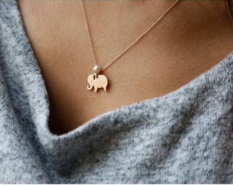 Hand-made Gold Elephant Necklace/Gold Necklace Available in 14k Gold, White Gold or Rose Gold