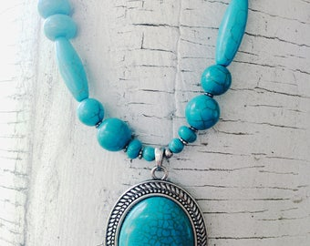 Turquoise Necklace, Beaded Jewelry, Southwestern Jewelry, Necklace, Design