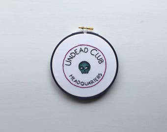 "Halloween Gothic Embroidery Hoop ""Undead Club HQ"" Hand Painted ~ Home Decor ~ Wall Art ~ Retro Embroidery ~ Spooky ~ Gothic ~ Kawaii ~ Club"